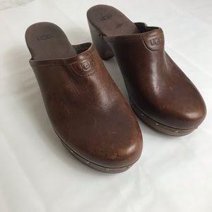 Ugg mule clogs leather & sheepskin